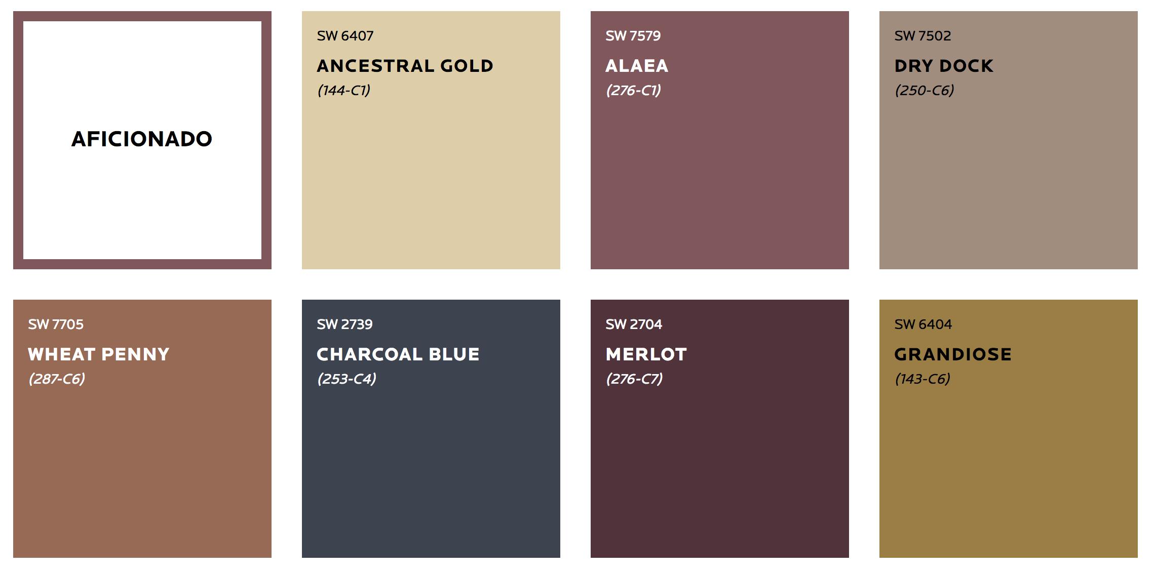 Paleta kolorów Aficionado - Trendy 2019