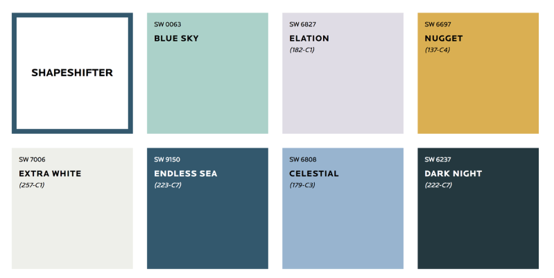 Kolory ścian w salonie - paleta Shapeshifter