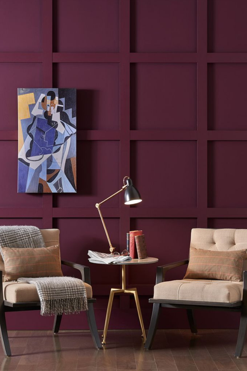 Ściana w kolorze z palety Aficionado - trendy 2019 r.