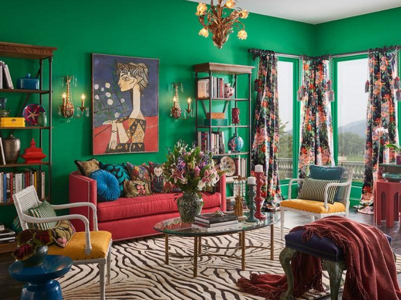 Kolor ścian w salonie - zieleń - trendy 2019