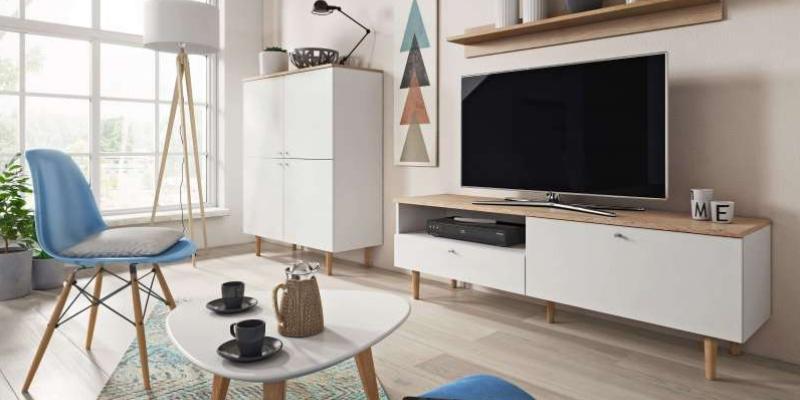 Salon z telewizorem i szafką RTV